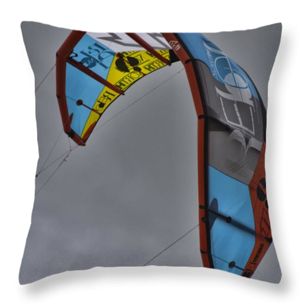 Kite Surfing Throw Pillow by Douglas Barnard