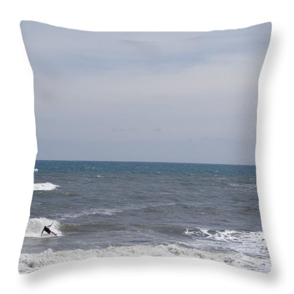 Kiteboarder With Kite In The Waves Throw Pillow by Skip Brown