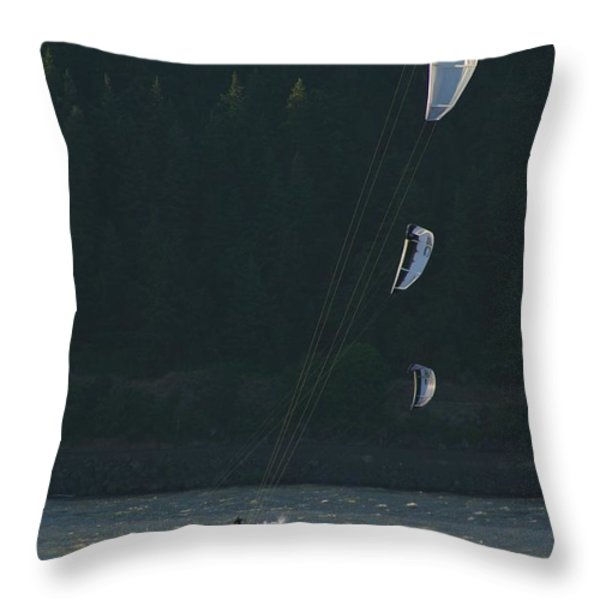 Kiteboarding On The Columbia River Throw Pillow by Skip Brown