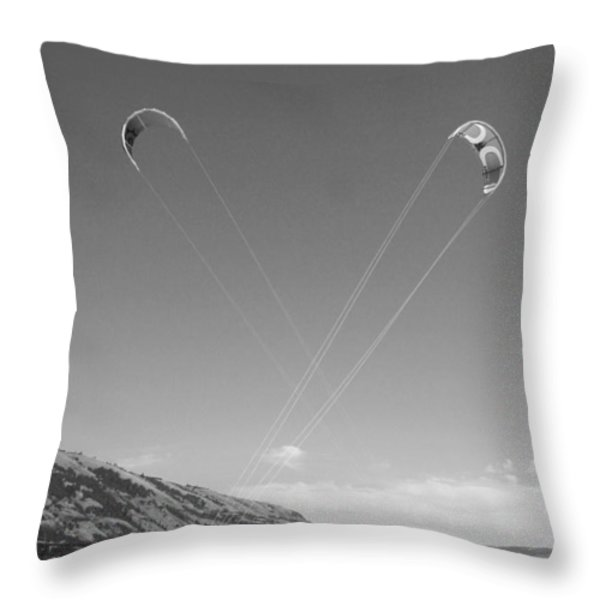 Kiteboarding Symmetry Throw Pillow by Skip Brown