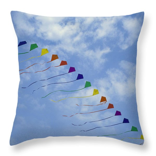 Kites Fly In A Rainbow Of Colors Throw Pillow by Stephen Alvarez