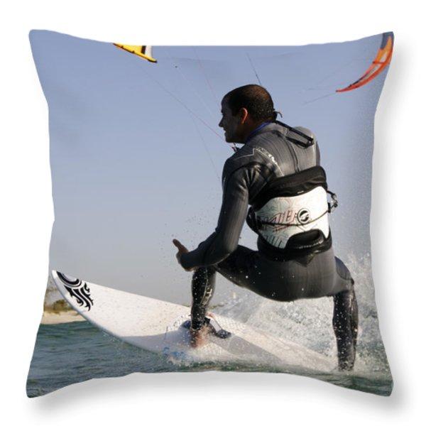 Kitesurfing Board Throw Pillow by Hagai Nativ