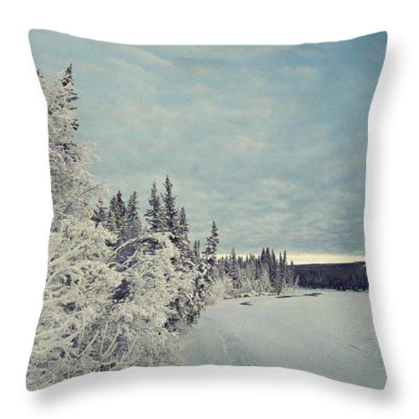 KlondikeRiver Throw Pillow by Priska Wettstein