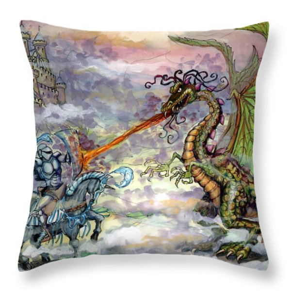 Knights n Dragons Throw Pillow by Kevin Middleton