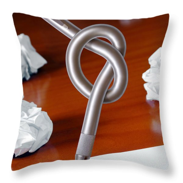 Knot on Pen Throw Pillow by Carlos Caetano