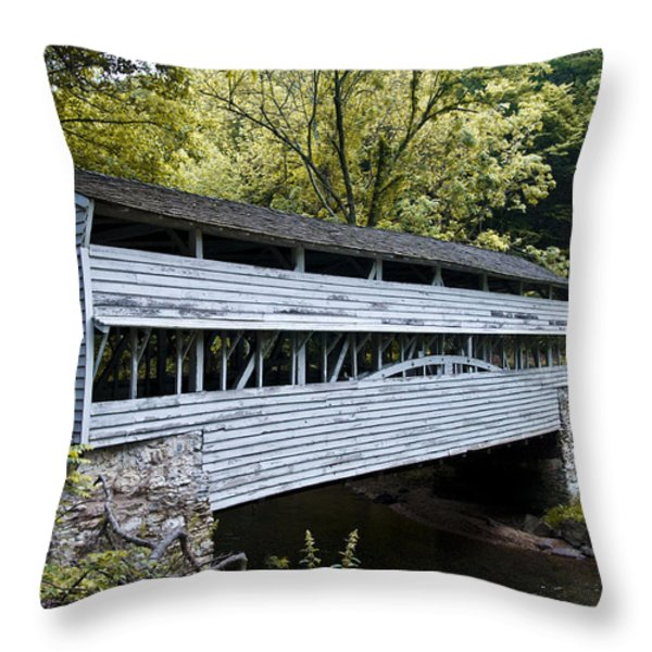 Knox Covered Bridge - Valley Forge Throw Pillow by Bill Cannon