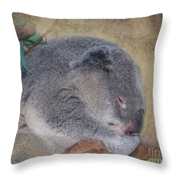 Koala Sleeping Throw Pillow by Betty LaRue