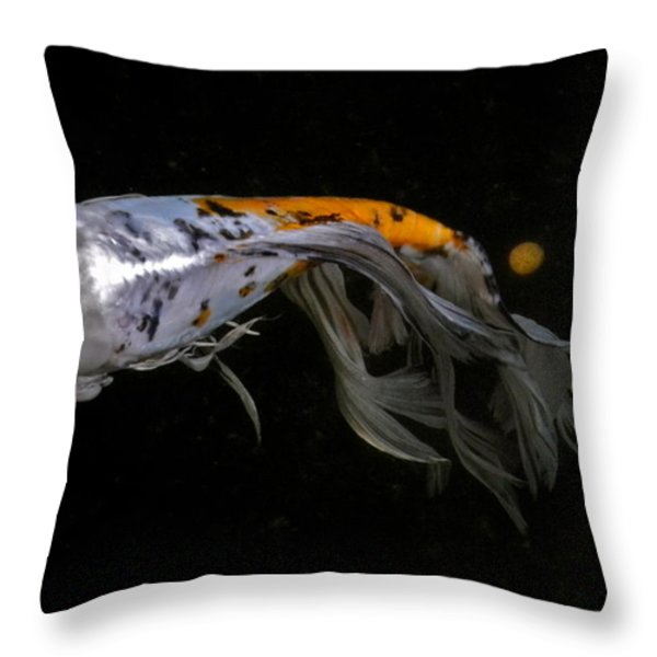 Koi And Coins Throw Pillow by Kirsten Giving