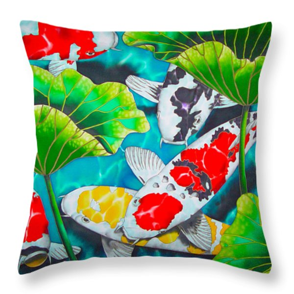 Koi And Lotus Throw Pillow by Daniel Jean-Baptiste