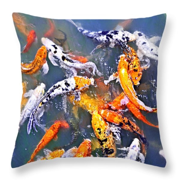 Koi fish in pond Throw Pillow by Elena Elisseeva