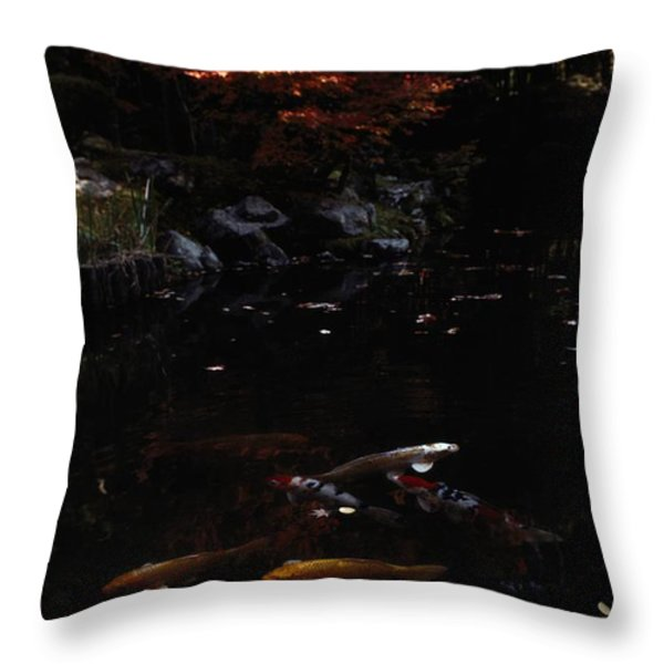 Koi Swim In A Pool Located Throw Pillow by Sam Abell