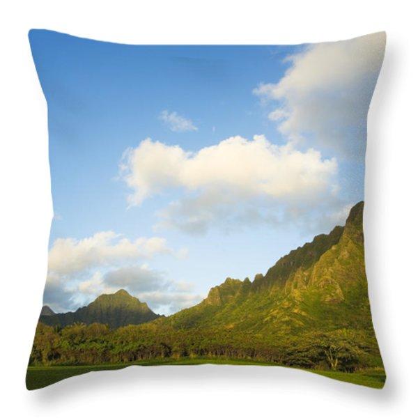 Kualoa Ranch Throw Pillow by Dana Edmunds - Printscapes