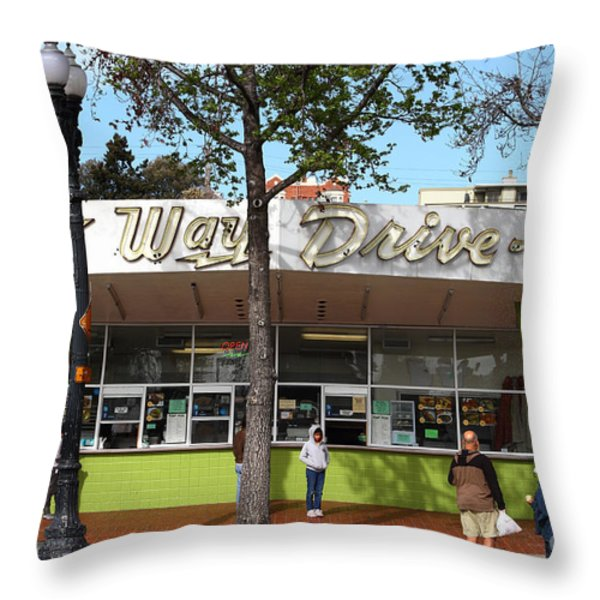 Kwik Way Drive-in Fast Food Restaurant . Oakland California . 7d13521 Throw Pillow by Wingsdomain Art and Photography