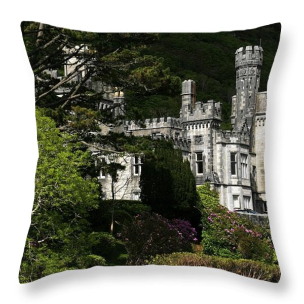 Kylemore Abbey, Connemara, County Throw Pillow by Peter Zoeller