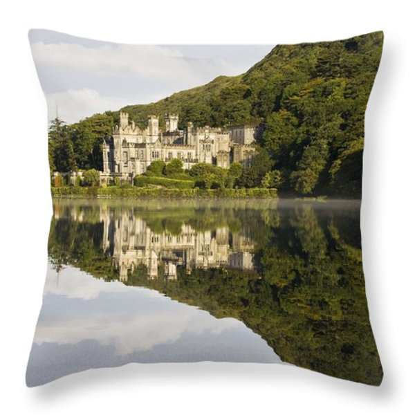 Kylemore Abbey, County Galway, Ireland Throw Pillow by Peter McCabe