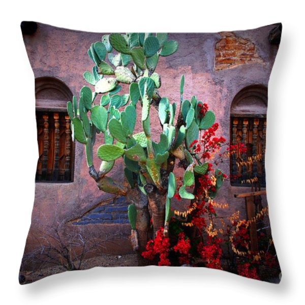 La Hacienda in Old Tuscon AZ Throw Pillow by Susanne Van Hulst