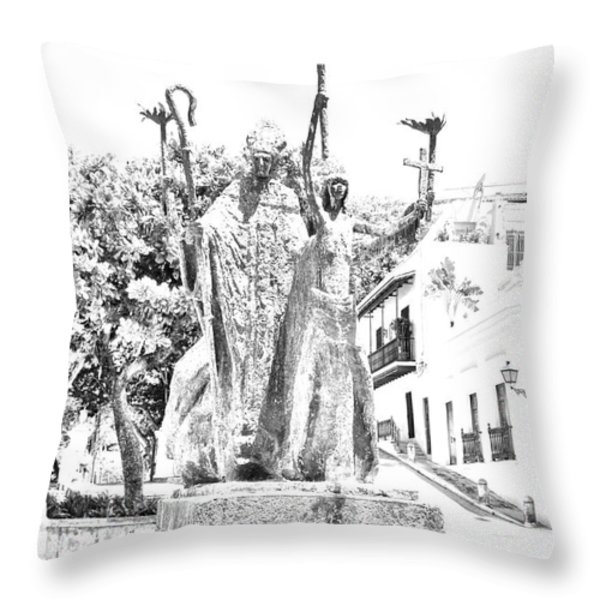 La Rogativa Sculpture Old San Juan Puerto Rico Black and White Line Art Throw Pillow by Shawn O'Brien