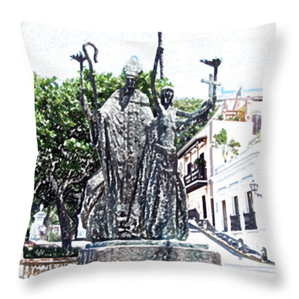 La Rogativa Sculpture Old San Juan Puerto Rico Colored Pencil Throw Pillow by Shawn O'Brien