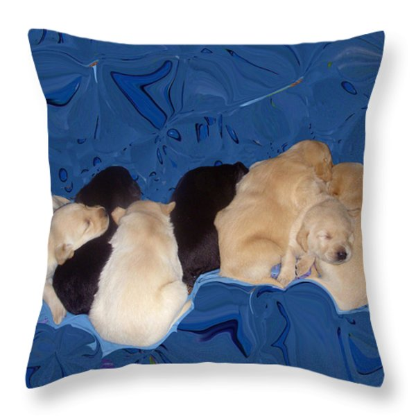 Lab Pups 1 Throw Pillow by Aimee L Maher Photography and Art