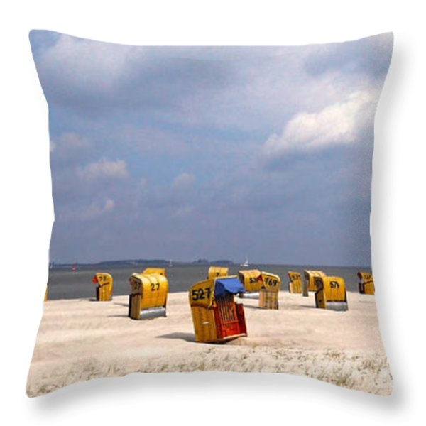 Laboe Beach ... Throw Pillow by Juergen Weiss