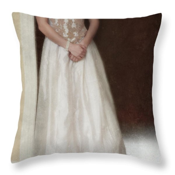 Lacy in Ecru Lace Gown Throw Pillow by Jill Battaglia