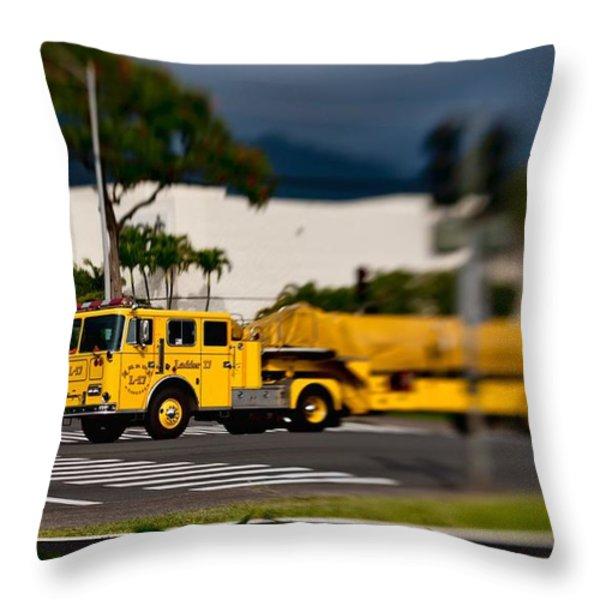 Ladder Truck Throw Pillow by Dan McManus