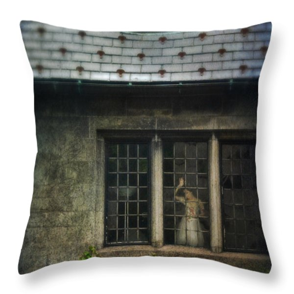 Lady by Window of Tudor Mansion Throw Pillow by Jill Battaglia