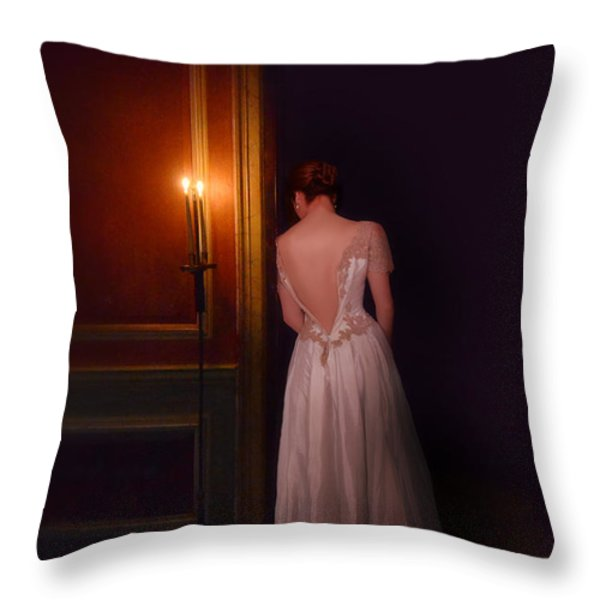 Lady in Candle Light Throw Pillow by Jill Battaglia