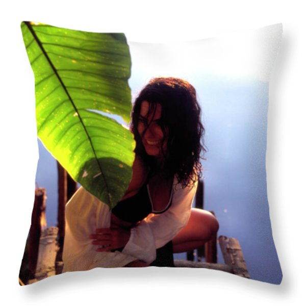 Lady On A Dock Throw Pillow by Thomas R Fletcher