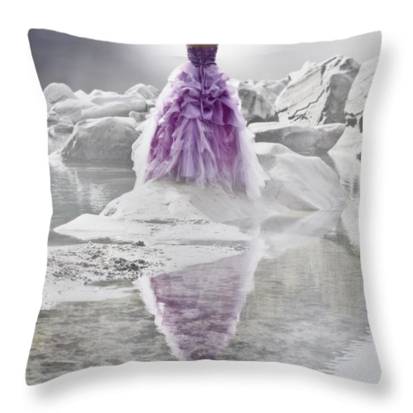 Lady on the rocks Throw Pillow by Joana Kruse