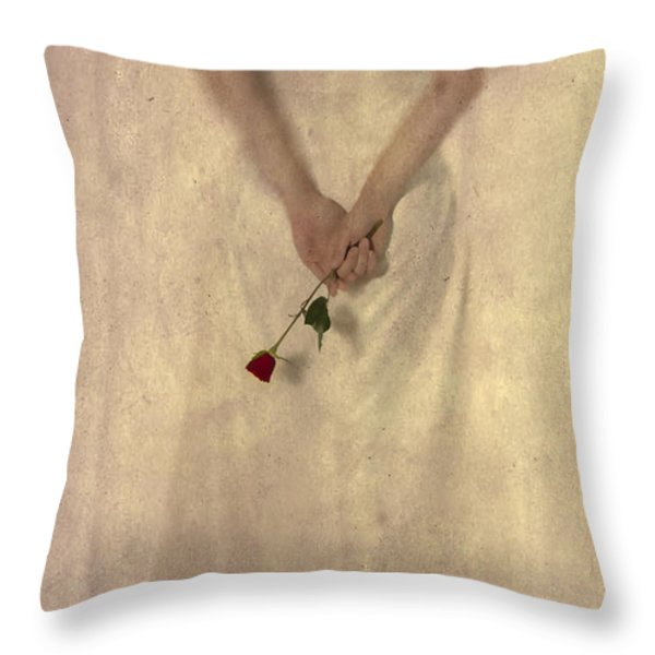 Lady with a rose Throw Pillow by Joana Kruse