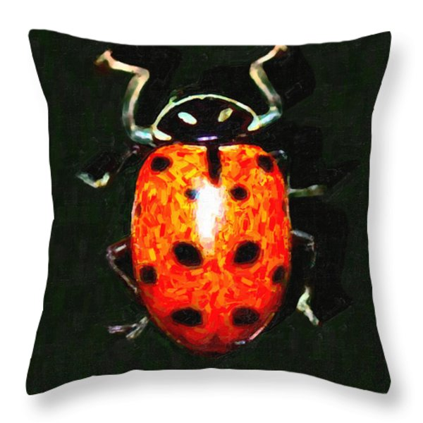 Ladybug Throw Pillow by Wingsdomain Art and Photography