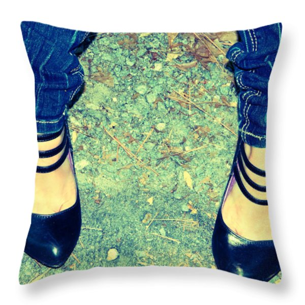Lady's Feet-vintage Throw Pillow by Ester  Rogers