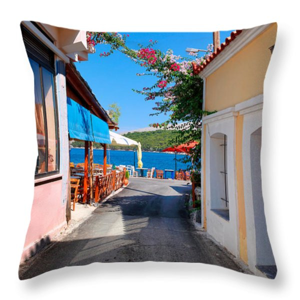 Lagada Chios Greece  Throw Pillow by Emmanuel Panagiotakis
