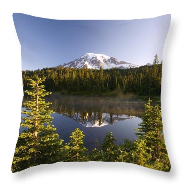 Lake And Mount Rainier, Mount Rainier Throw Pillow by Craig Tuttle