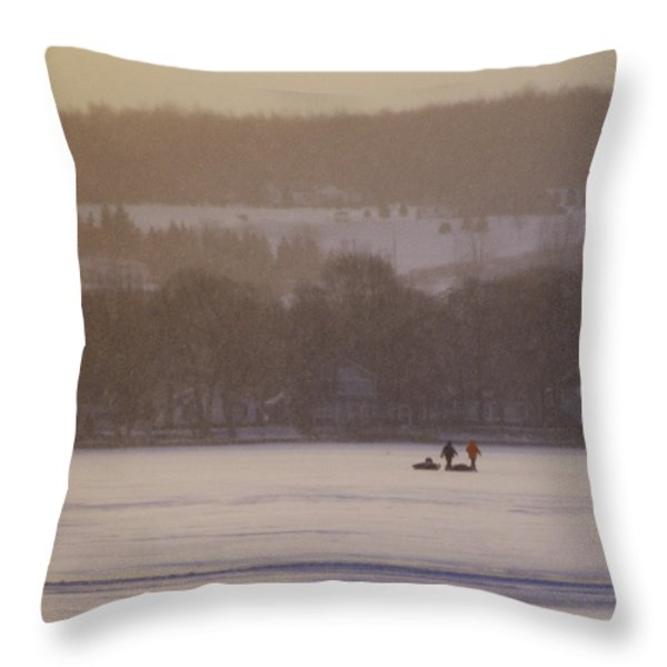 Lake Crossing  February 2010 Throw Pillow by Joseph Duba
