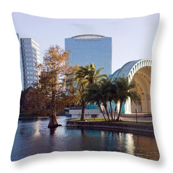 Lake Eola's  Classical Revival Amphitheater Throw Pillow by Lynn Palmer