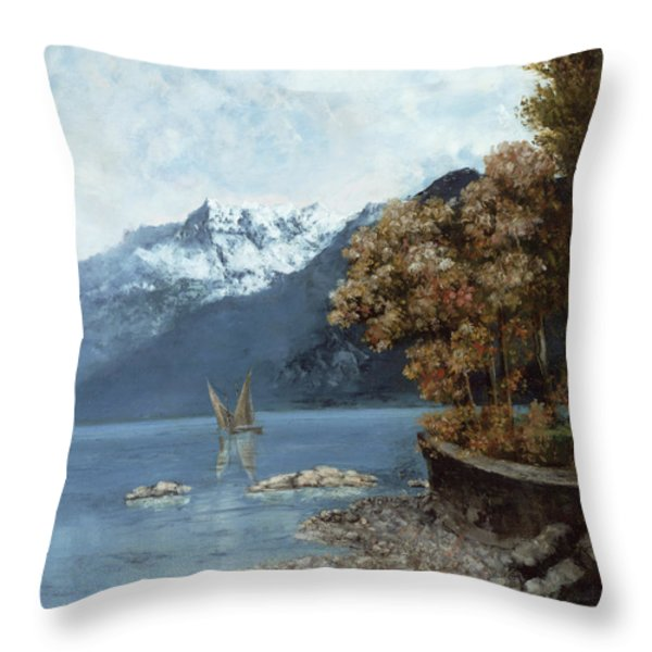 Lake Leman Throw Pillow by Gustave Courbet