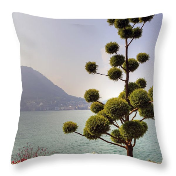 Lake Lugano - Monte Salvatore Throw Pillow by Joana Kruse