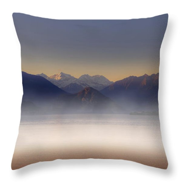Lake Maggiore And Alps Throw Pillow by Joana Kruse