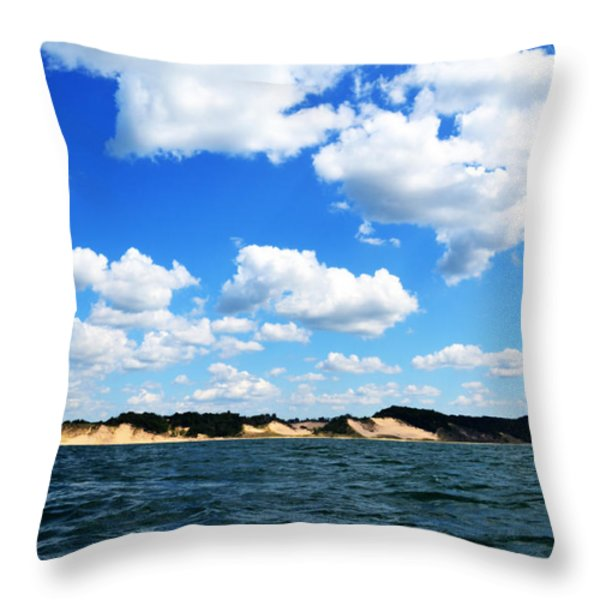 Lake Michigan Shore With Clouds Throw Pillow by Michelle Calkins