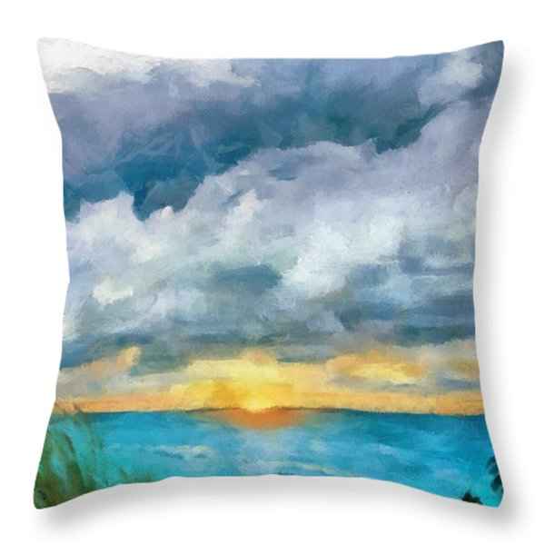 Lake Michigan Sunset Throw Pillow by Michelle Calkins