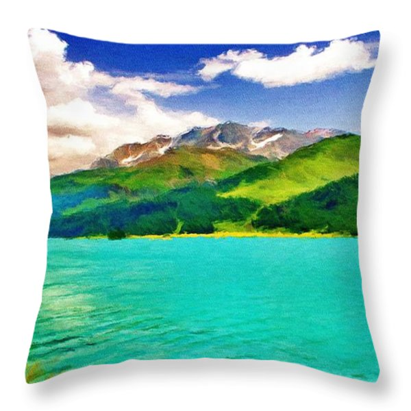Lake Sils Throw Pillow by Jeff Kolker