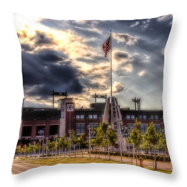 Lambeau Field Awakes Throw Pillow by Joel Witmeyer