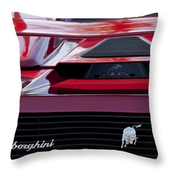 Lamborghini Rear View Throw Pillow by Jill Reger