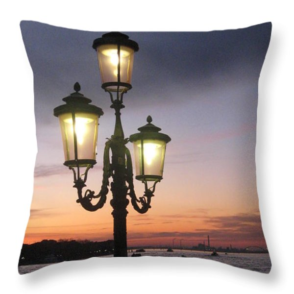 Lampost sunset in Venice Throw Pillow by Catie Canetti