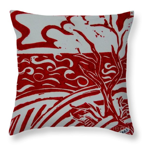 Land Sea Sky In Red and White Throw Pillow by Caroline Street