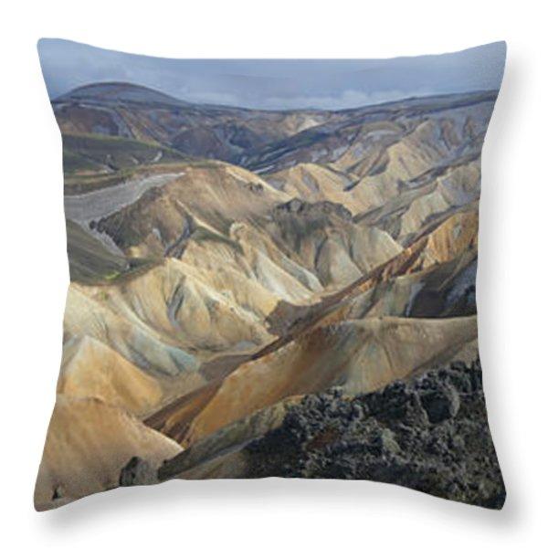 Landmannalaugar Panorama 1 Throw Pillow by Rudi Prott