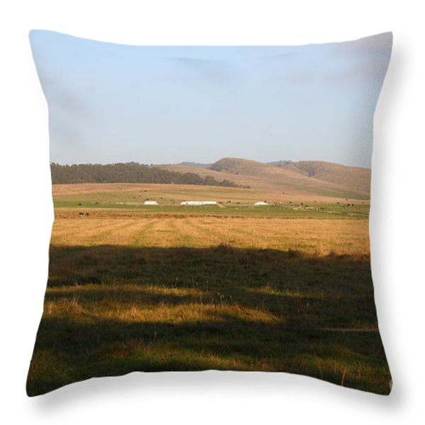 Landscape With Cows Grazing In The Field . 7D9966 Throw Pillow by Wingsdomain Art and Photography