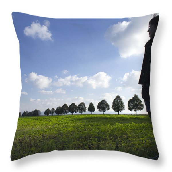 Landscape With Row Of Trees And Person Throw Pillow by Matthias Hauser